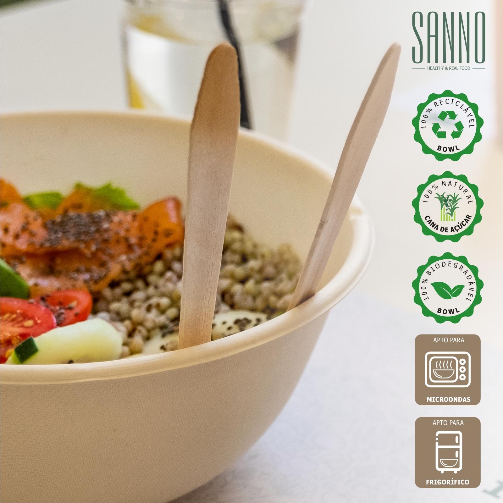 SANNO - Bowls biodegradáveis, recicláveis, origem natural, aptas para frigorífico e microondas
